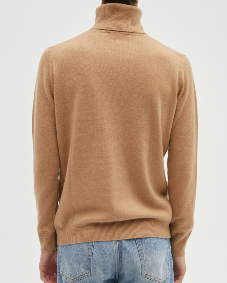 Men's cashmere turtleneck sweater long sleeves - camel - alessio - absolut cashmere (front)