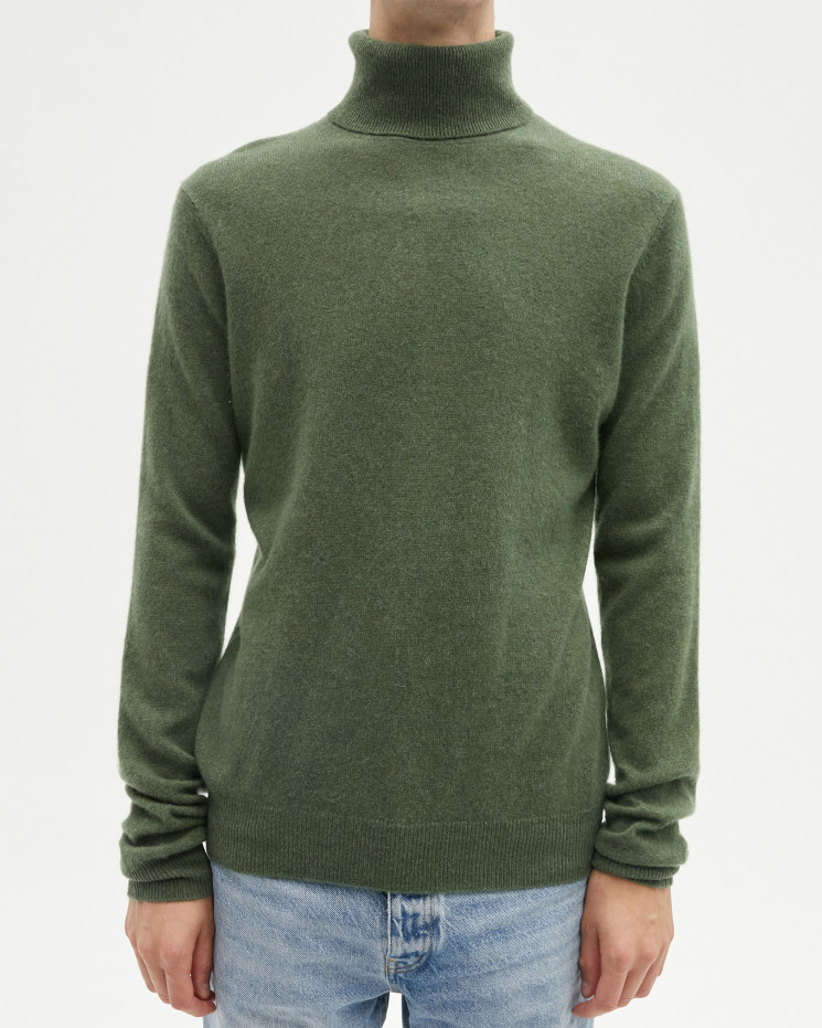 Men's cashmere turtleneck sweater long sleeves - kaki - alessio - absolut cashmere (front)