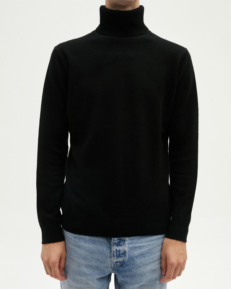 Men's cashmere turtleneck sweater long sleeves - noir - alessio - absolut cashmere (front)