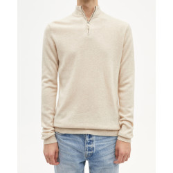 Pull homme cachemire col camionneur manches longues - beige chiné - diego - absolut cashmere (zoom)