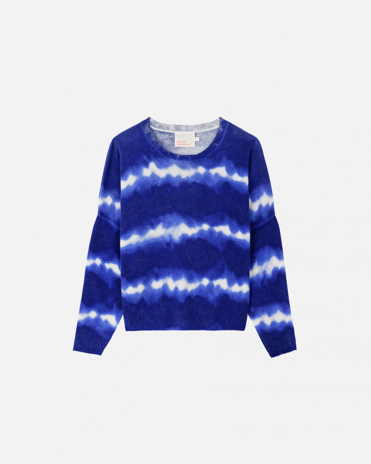 Women's cashmere wool round-neck long sleeves - cobalt - charlie - absolut cashmere (front 2)