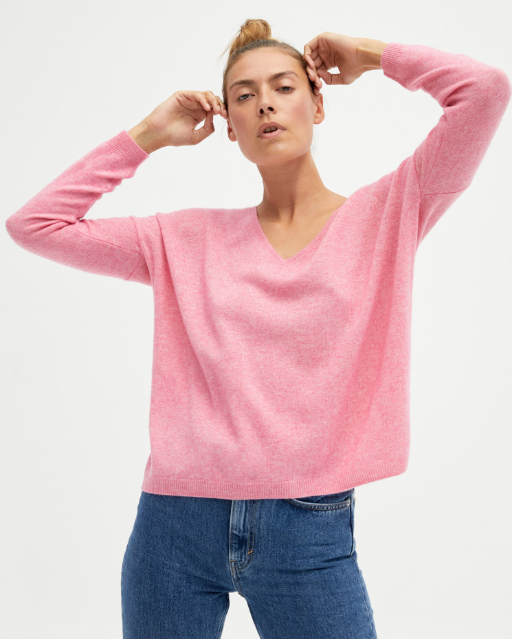 Women's oversized cashmere V-neck sweater long sleeves - ballerine - angèle - absolut cashmere (front)