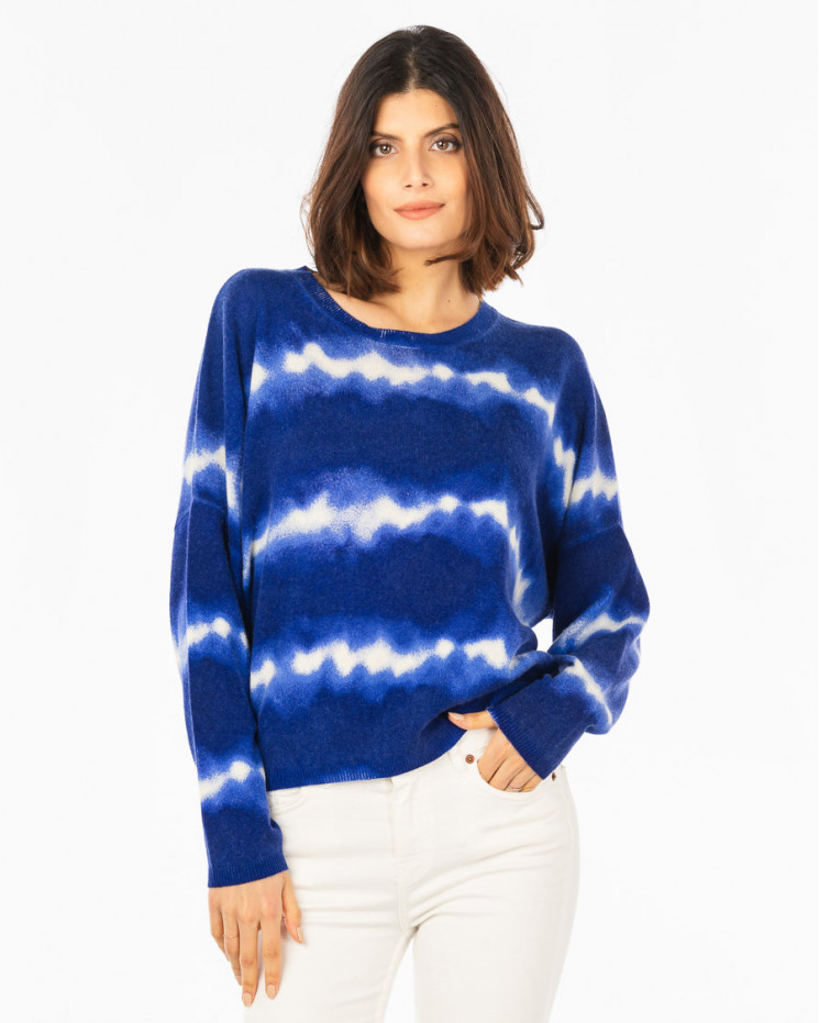 Women's cashmere wool round-neck long sleeves - cobalt - charlie - absolut cashmere (front)